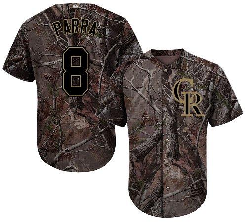 Colorado Rockies #8 Gerardo Parra Camo Realtree Collection Cool Base Stitched MLB Jersey