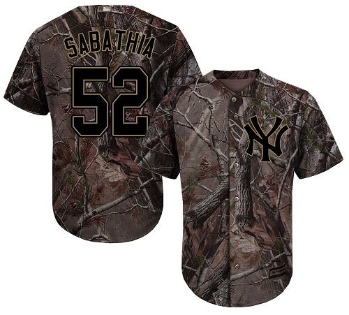 New York Yankees #52 C.C. Sabathia Camo Realtree Collection Cool Base Stitched MLB Jersey