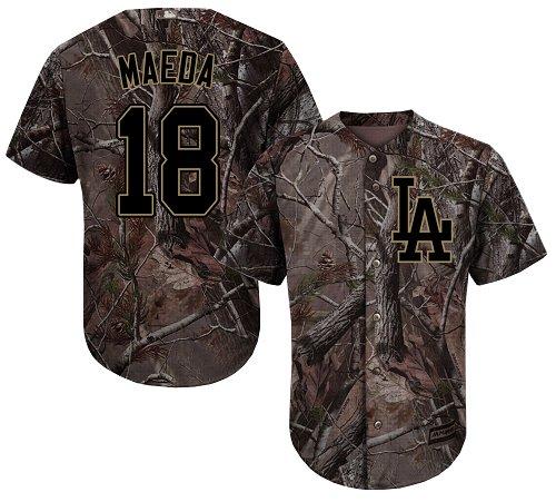 Los Angeles Dodgers #18 Kenta Maeda Camo Realtree Collection Cool Base Stitched Baseball Jersey