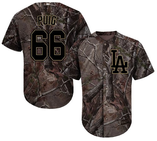 Los Angeles Dodgers #66 Yasiel Puig Camo Realtree Collection Cool Base Stitched Baseball Jersey