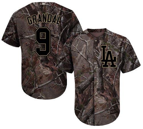 Los Angeles Dodgers #9 Yasmani Grandal Camo Realtree Collection Cool Base Stitched Baseball Jersey