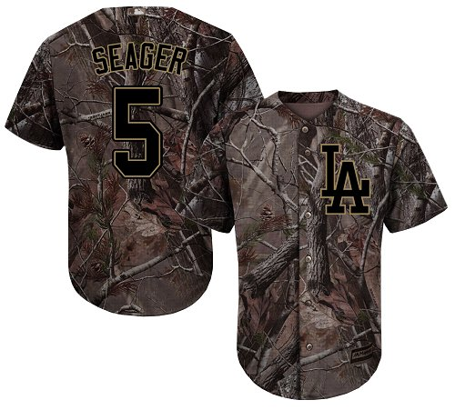 Los Angeles Dodgers #5 Corey Seager Camo Realtree Collection Cool Base Stitched Baseball Jersey