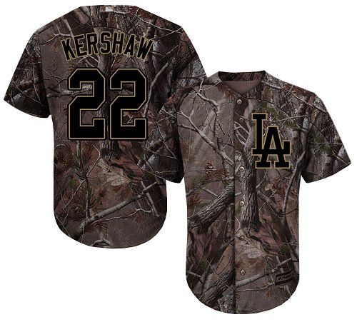 Los Angeles Dodgers #22 Clayton Kershaw Camo Realtree Collection Cool Base Stitched Baseball Jersey