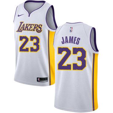 c6bde44552c Nike Los Angeles Lakers  23 LeBron James White NBA Swingman Association  Edition Jersey