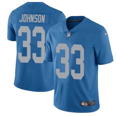 Nike Detroit Lions #33 Kerryon Johnson Blue Throwback Men's Stitched NFL Vapor Untouchable Limited Jersey