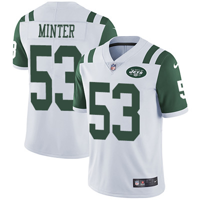 Nike New York Jets #53 Kevin Minter White Men's Stitched NFL Vapor Untouchable Limited Jersey