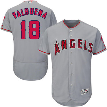 LA Angels of Anaheim #18 Luis Valbuena Grey Flexbase Authentic Collection Stitched Baseball Jersey