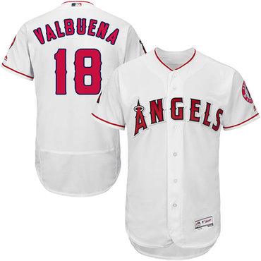 LA Angels of Anaheim #18 Luis Valbuena White Flexbase Authentic Collection Stitched Baseball Jersey