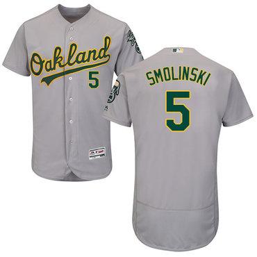 Oakland Athletics #5 Jake Smolinski Grey Flexbase Authentic Collection Stitched Baseball Jersey