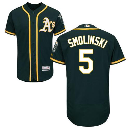 Oakland Athletics #5 Jake Smolinski Green Flexbase Authentic Collection Stitched Baseball Jersey