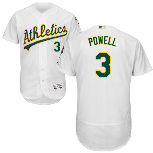 Oakland Athletics #3 Boog Powell White Flexbase Authentic Collection Stitched Baseball Jersey