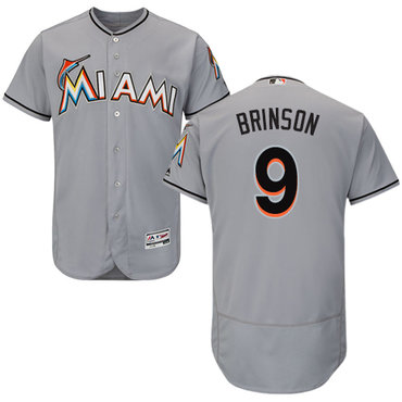 Miami marlins #9 Lewis Brinson Grey Flexbase Authentic Collection Stitched Baseball Jersey
