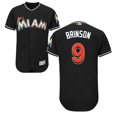Miami marlins #9 Lewis Brinson Black Flexbase Authentic Collection Stitched Baseball Jersey