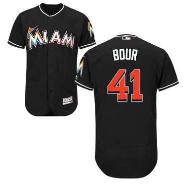 Miami marlins #41 Justin Bour Black Flexbase Authentic Collection Stitched Baseball Jersey