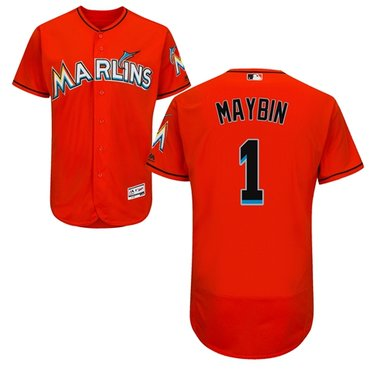 Miami marlins #1 Cameron Maybin Orange Flexbase Authentic Collection Stitched Baseball Jersey