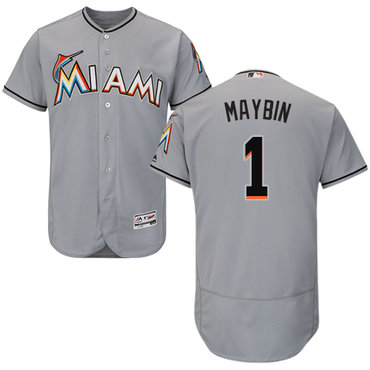 Miami marlins #1 Cameron Maybin Grey Flexbase Authentic Collection Stitched Baseball Jersey