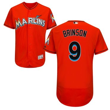 Miami marlins #9 Lewis Brinson Orange Flexbase Authentic Collection Stitched Baseball Jersey