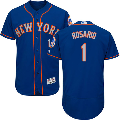 New York Mets #1 Amed Rosario Blue(Grey NO.) Flexbase Authentic Collection Stitched Baseball Jersey
