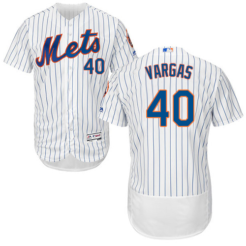 New York Mets #40 Jason Vargas White(Blue Strip) Flexbase Authentic Collection Stitched Baseball Jersey