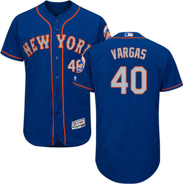 New York Mets #40 Jason Vargas Blue(Grey NO.) Flexbase Authentic Collection Stitched Baseball Jersey