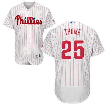 Philadelphia Phillies #25 Jim Thome White(Red Strip) Flexbase Authentic Collection Stitched Baseball Jersey