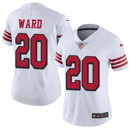 Women's Nike San Francisco 49ers #20 Jimmie Ward White Rush Stitched NFL Vapor Untouchable Limited Jersey