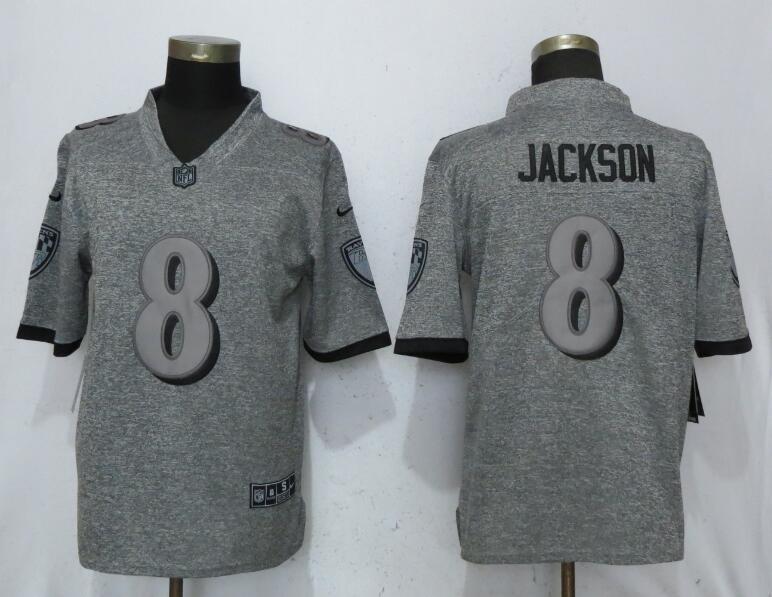 Nike Baltimore Ravens #8 LaMar Jackson Gray Gridiron Gray Vapor Untouchable Limited Jersey