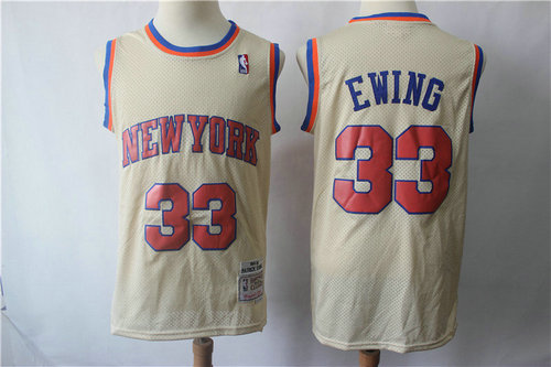 New York Knicks #33 Patrick Ewing Cream Throwback Jersey