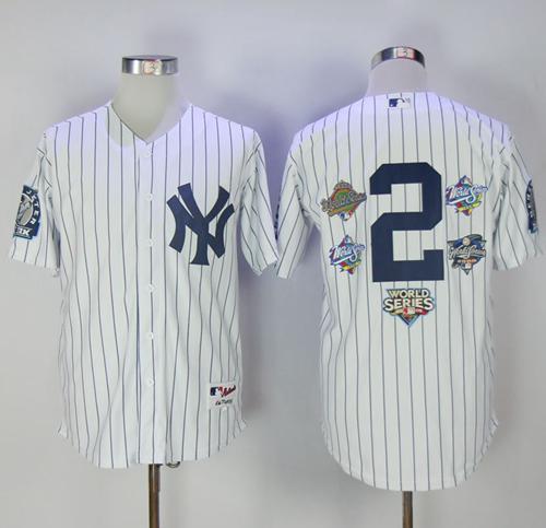 Men's New York Yankees #2 Derek Jeter White Strip Five Times World Series Champion Stitched MLB Jersey