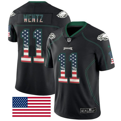 Nike Philadelphia Eagles #11 Carson Wentz Black Men's Stitched NFL Limited Rush USA Flag Jersey