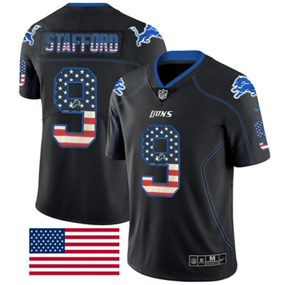 Nike Detroit Lions #9 Matthew Stafford Black Men's Stitched NFL Limited Rush USA Flag Jersey