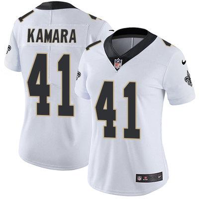 Women's Nike New Orleans Saints #41 Alvin Kamara White Stitched NFL Vapor Untouchable Limited Jersey