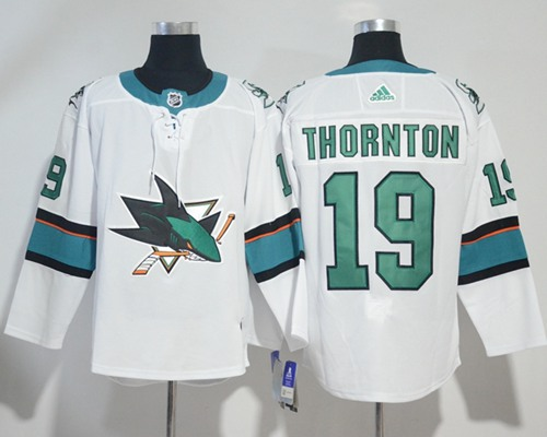Adidas San Jose Sharks #19 Joe Thornton White Road Authentic Stitched NHL Jersey