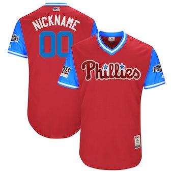 Men's Philadelphia Phillies Majestic Scarlet 2018 MLB Little League Classic Authentic Flex Base Custom Jersey