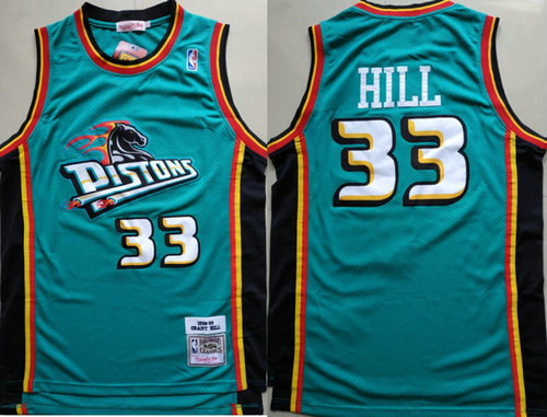 Detroit Pistons 33 Grant Hill Swingman Green Throwback Jersey