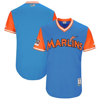 Men's Miami Marlins Blank Majestic Light Blue 2018 Players' Weekend Authentic Team Jersey