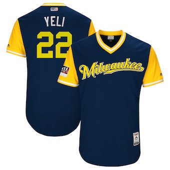 Men's Milwaukee Brewers 22 Christian Yelich Yeli Majestic Navy 2018 Players' Weekend Authentic Jersey