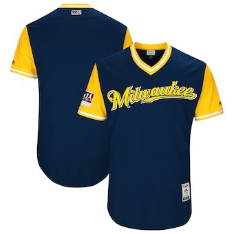 Men's Milwaukee Brewers Blank Majestic Navy 2018 Players' Weekend Authentic Team Jersey