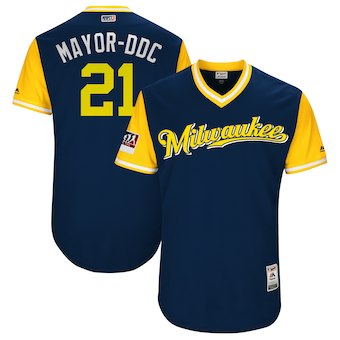 Men's Milwaukee Brewers 21 Travis Shaw Mayor-DDC Majestic Navy 2018 Players' Weekend Authentic Jersey