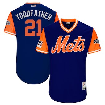 Men's New York Mets 21 Todd Frazier Toddfather Majestic Royal 2018 MLB Little League Classic Authentic Jersey