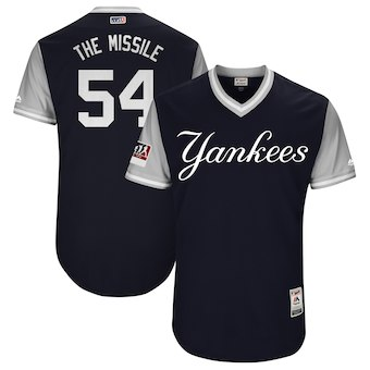 Men's New York Yankees 54 Aroldis Chapman The Missile Majestic Navy 2018 Players' Weekend Authentic Jersey