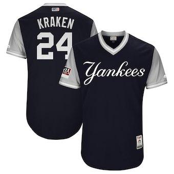Men's New York Yankees 24 Gary Sanchez Kraken Majestic Navy 2018 Players' Weekend Authentic Jersey