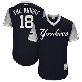 Men's New York Yankees 18 Didi Gregorius The Knight Majestic Navy 2018 Players' Weekend Authentic Jersey