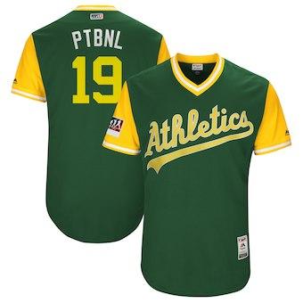 Men's Oakland Athletics 19 Josh Phegley PTBNL Majestic Green 2018 Players' Weekend Authentic Jersey