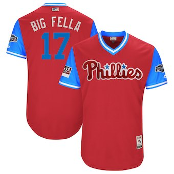 Men's Philadelphia Phillies 17 Rhys Hoskins Big Fella Majestic Scarlet 2018 MLB Little League Classic Authentic Jersey