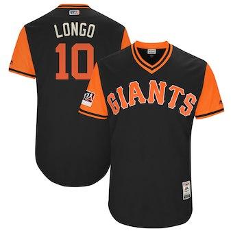 Men's San Francisco Giants 10 Evan Longoria Longo Majestic Black 2018 Players' Weekend Authentic Jersey