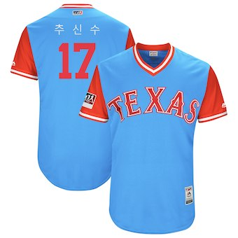 Men's Texas Rangers 17 Shin Soo Choo Majestic Light Blue 2018 Players' Weekend Authentic Jersey