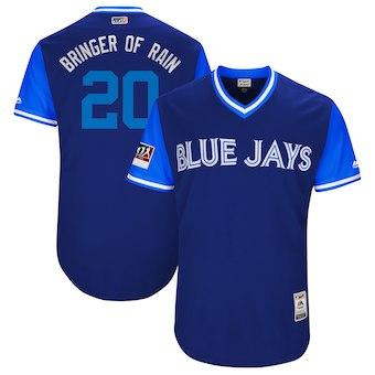 Men's Toronto Blue Jays 20 Josh Donaldson Bringer of Rain Majestic Light Blue 2018 Players' Weekend Authentic Jersey