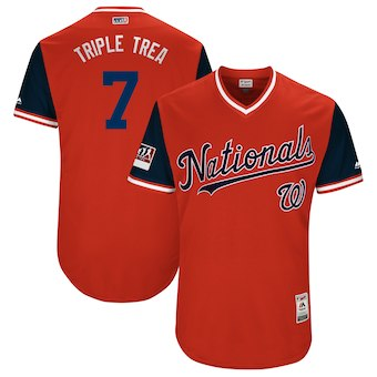 Men's Washington Nationals 7 Trea Turner Triple Trea Majestic Red 2018 Players' Weekend Authentic Jersey