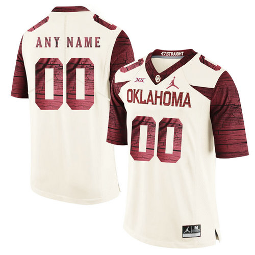 Oklahoma Sooners White With Red Men's Customized College Football Jersey